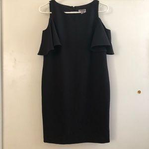 Peekaboo shoulder little black dress
